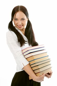 Woman With Pile Books Stock Photography