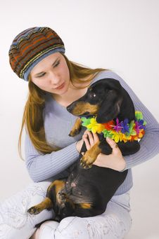 Free The Girl  And A Dog Stock Image - 4738951