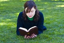 Free Reading On The Grass Stock Image - 4739101
