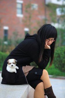Free Girl And Baby Dog Stock Image - 4739431