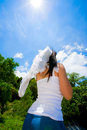 Free Angel Looking Up Beautiful Bright Blue Sky Royalty Free Stock Image - 4749186