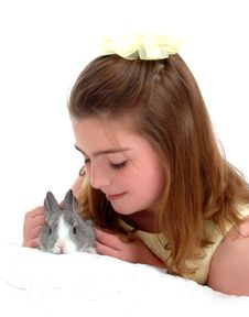 Gentle Bunny And Girl Royalty Free Stock Photo