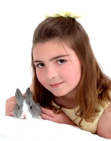 Sweet Bunny And Girl Royalty Free Stock Images