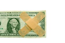 Free US Dollar Bill With Band Aids Stock Image - 4741441