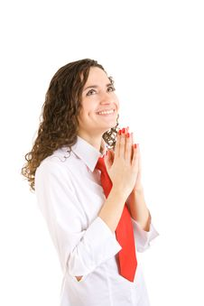 Gratitude To The God Of The Businesswoman Stock Photos