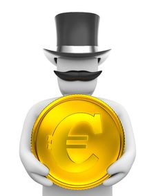Free Gentleman And Eur Coin. Royalty Free Stock Photo - 4742385