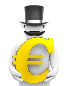 Free Man And Euro Sign Royalty Free Stock Photo - 4742425