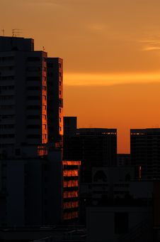 Buildings At Sunset Royalty Free Stock Images