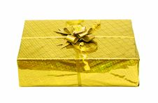 Yellow Celebratory Gift Box Isolated Stock Photo