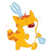 Free Red_Cat_with_fork Stock Image - 4745371
