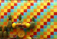 Colour Wall And Fruits Stock Photos