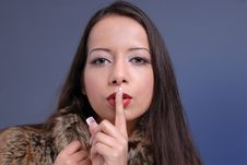 Attractive Woman Gestures Silence Royalty Free Stock Image
