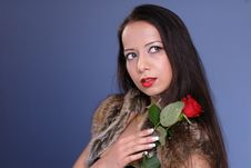 Free Beautiful Woman With Rose Royalty Free Stock Images - 4746029