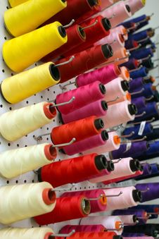 Bunch Of Colorful Cotton Bobbins Stock Image