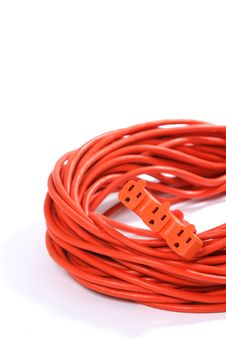 Orange Extension Cord Stock Photo
