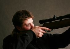 Free Man With A Gun Stock Image - 4747001