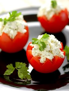 Free Tomatoes Stuffed With Feta Stock Photo - 4747340