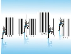 Free Mountaineers  On Barcode Royalty Free Stock Image - 4748206