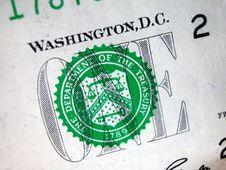 Free One Dollar Bill-Treasury Seal Royalty Free Stock Photos - 4748868
