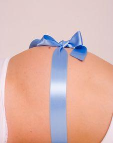 Blue Pregnant Gift Stock Photo