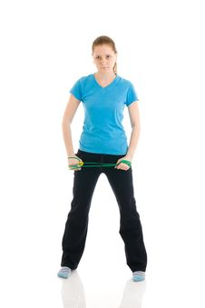 Free The Woman With The Skipping Rope Isolated Royalty Free Stock Photography - 4748997