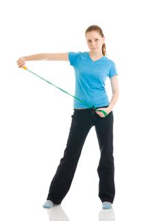 Free The Young Woman With The Skipping Rope Isolated Royalty Free Stock Image - 4749006