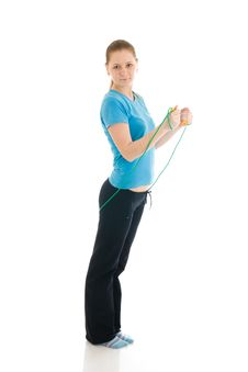 Free The Young Woman With The Skipping Rope Isolated Stock Image - 4749021