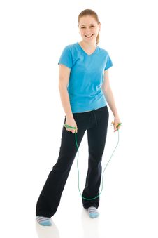 Free The Young Woman With The Skipping Rope Isolated Royalty Free Stock Photos - 4749028