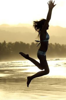 Free Jump By Sunset Stock Photography - 4749562