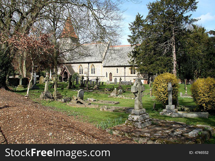 English Village Church and Graveyard