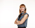 Free Young Beautiful Business Woman With Headphones Stock Photo - 47483170