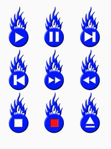 Free Burnig Player Buttons (blue) Stock Photos - 4752013