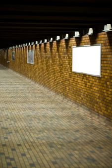 Free A Bricked Hallway With Blank Advertisement Boards Stock Photos - 4752043