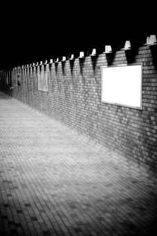 Free A Bricked Hallway With Blank Advertisement Boards Royalty Free Stock Photos - 4752058