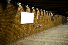 Free A Bricked Hallway With Blank Advertisement Boards Royalty Free Stock Image - 4752076