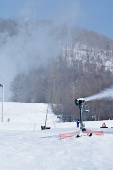 Snow Machines Working To Create Snow At A Ski Reso