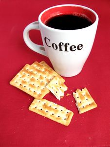 Free Coffee With Crackers. Stock Photo - 4753650