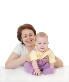 Small Baby With Mother Isolated Stock Image