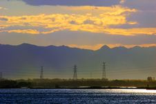 Free The Sunset On The Lakeside Stock Images - 4755414