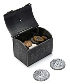 Open Chest With Coins Stock Photo