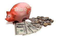 Free Piggy Bank With Dollar Bills And Coins Stock Images - 4756204