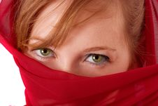 Free Woman With Red Paranja Stock Images - 4757954