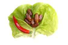 Free Red Pepper,  Dates And Lettuce Background Royalty Free Stock Photos - 4758038