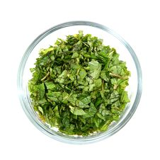 Free Chopped Fresh Mint Leaves In Glass Bowl Royalty Free Stock Image - 4758096