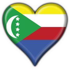 Comoros Button Flag Heart Shape Stock Images