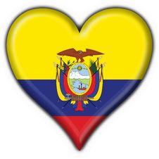 Ecuador Button Flag Heart Shape Royalty Free Stock Photo