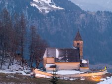 Alpine Church, Floodlit Stock Photography