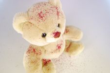 Free Teddy Bear With Red Glitter Poured Over Royalty Free Stock Photography - 4759807