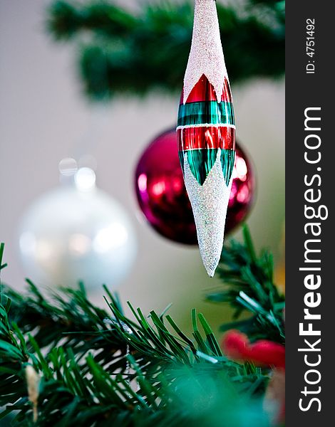 Christmas ornament hanging from a christmas tree