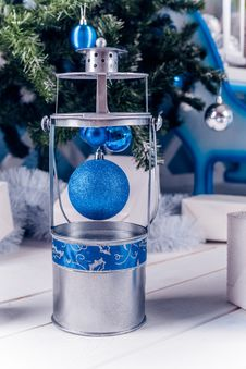 Free Christmas Lantern On White Wooden Floor With Blue Christmas Ball Royalty Free Stock Photo - 47594585
